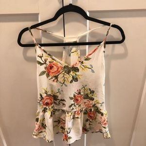 Flowery white tank top NEVER BEEN WORN